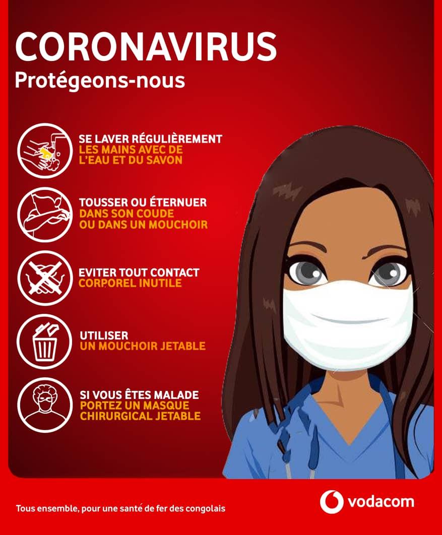 Vodacom Congo : quelques règles d'hygiène pour stopper le CORONAVIRUS