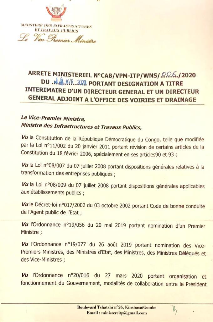 RDC : nouveaux DG et DGA a.i nommés à la tête de l'OVD