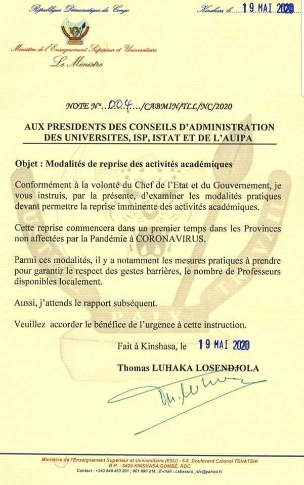 RDC-Esu : les universités et les instituts supérieurs pourront bientôt ouvrir leurs portes (Communiqué Esu)