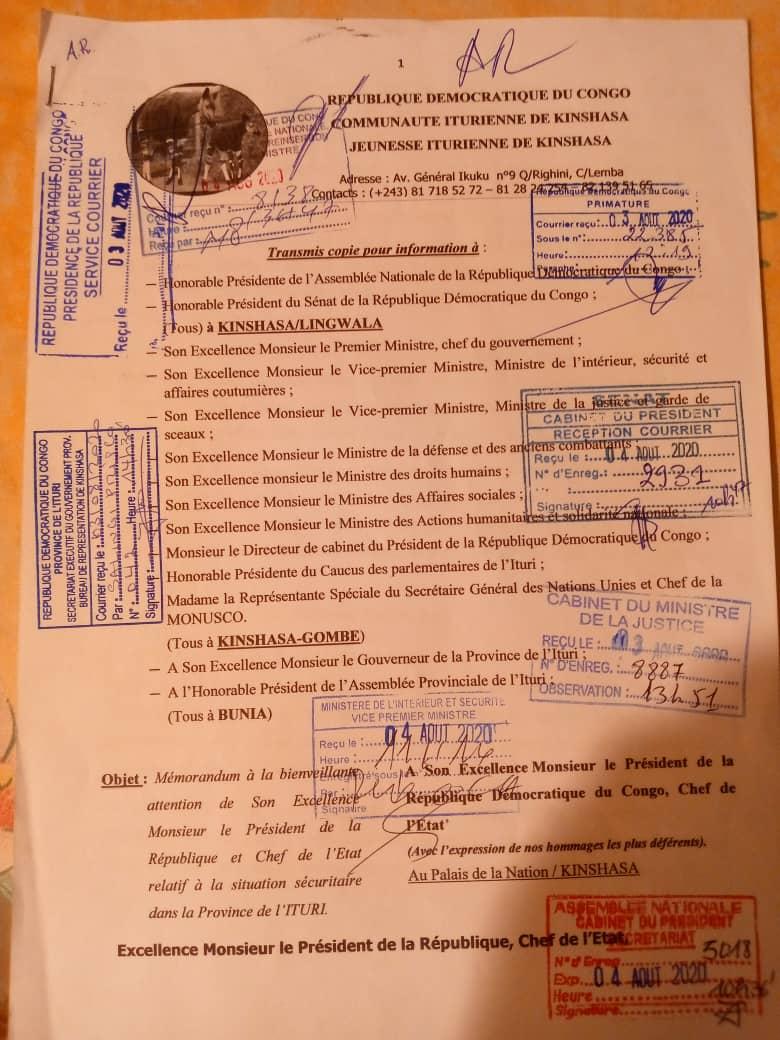Insécurité en Ituri : la jeunesse iturienne formule des recommandations au Président de la République