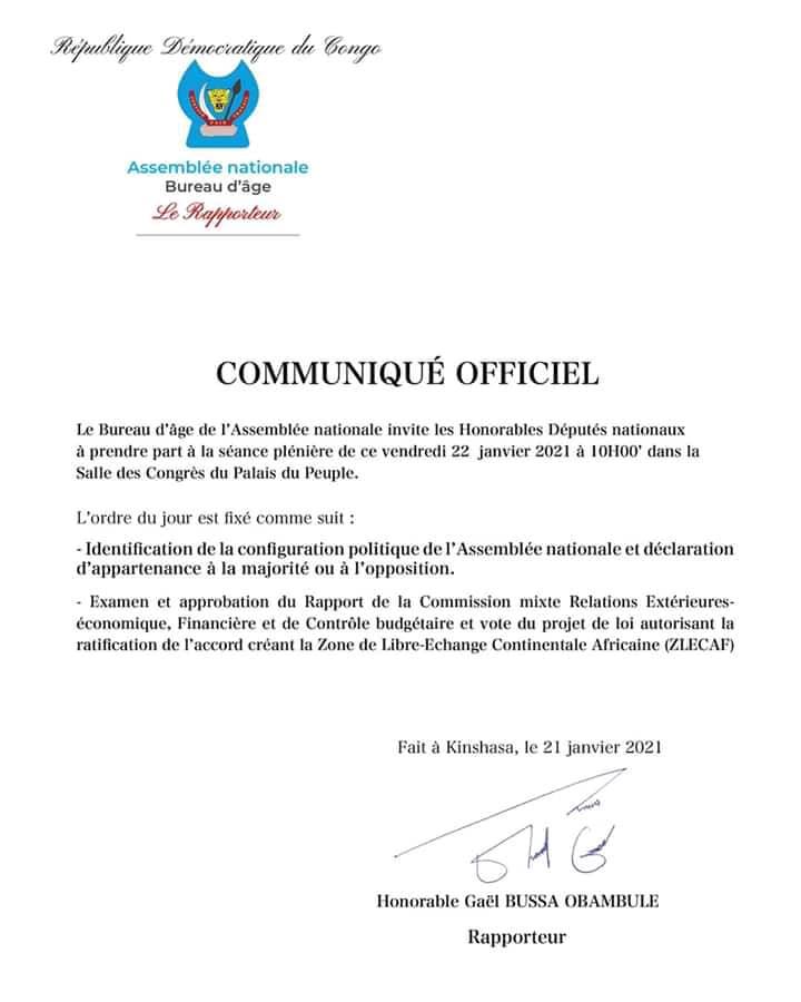RDC : l'Assemblée nationale convoque une plénière ce vendredi pour identifier la nouvelle majorité