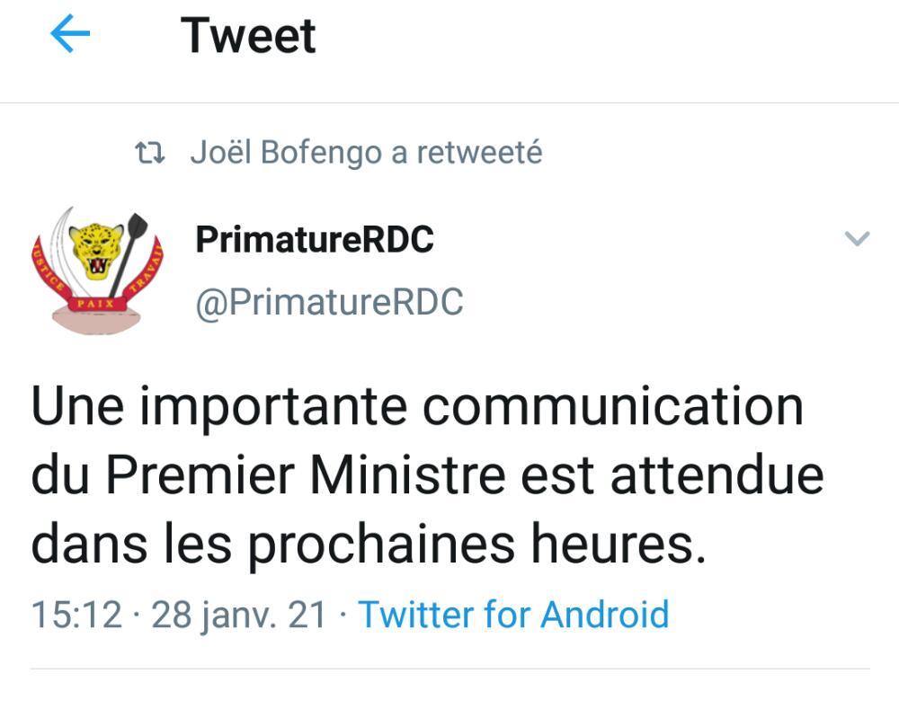 RDC : La primature annonce une communication très importante du premier ministre Ilunga Ilunkamba