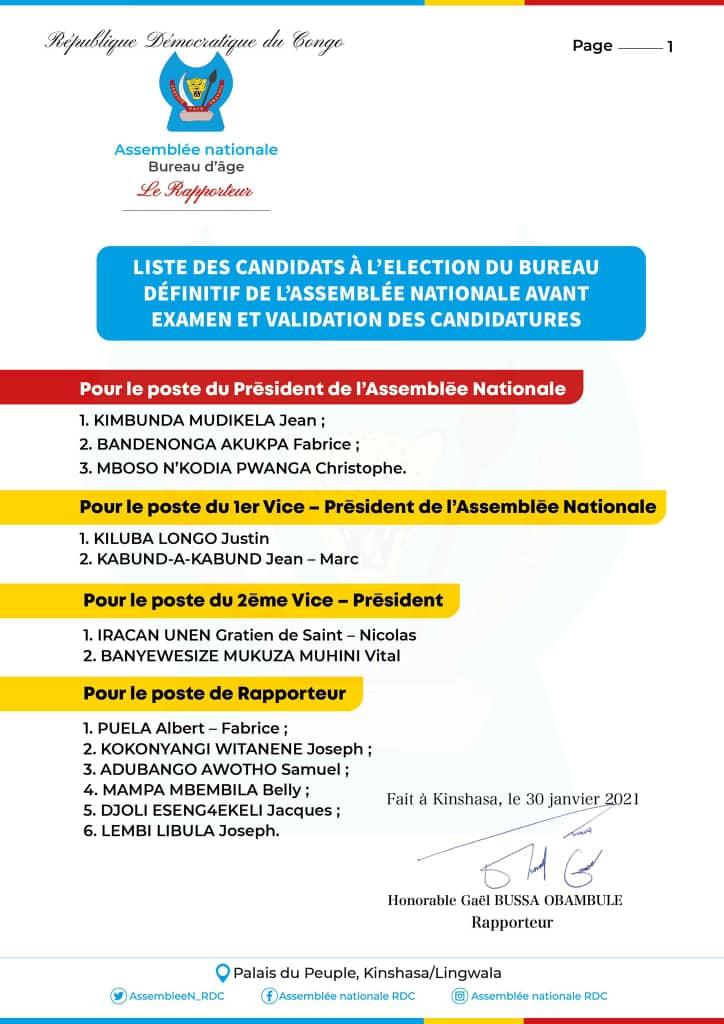 Élections du bureau définitif : publication de la liste des candidats avant l'examen et la validation des candidatures (Rapporteur)