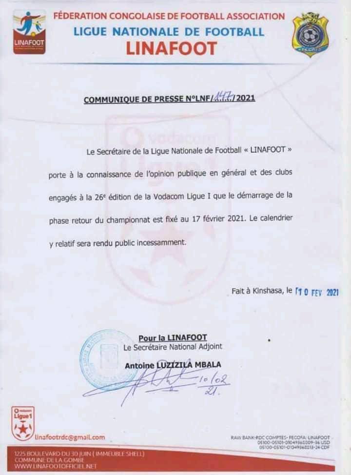 Foot/Vodacom Ligue 1 : la phase retour annoncée pour ce 17 février
