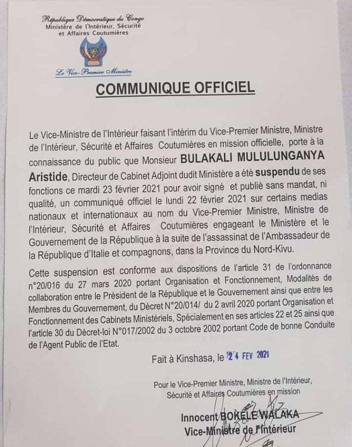 Meurtre de l'ambassadeur italien : le directeur de cabinet adjoint du ministre de l'intérieur suspendu de ses fonctions