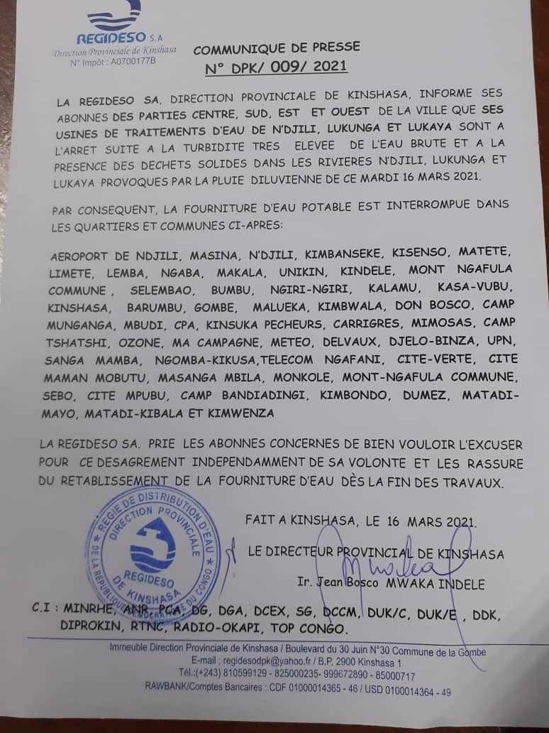 Kinshasa : suite aux dégâts causés par la pluie, plusieurs communes seront privées d'eau (Regideso)