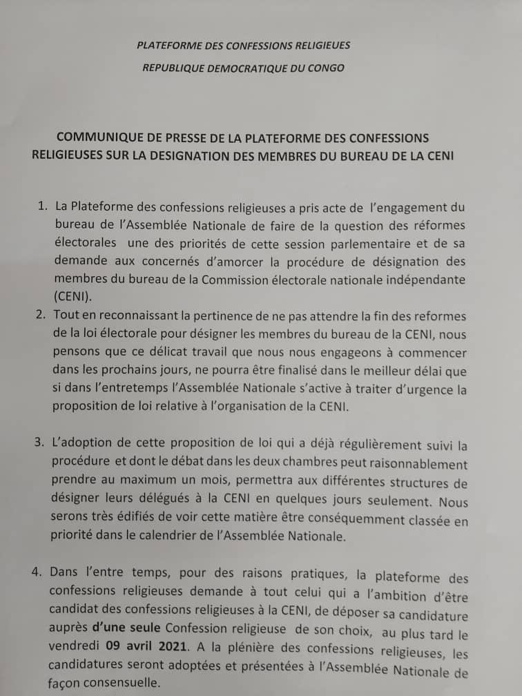 Désignation du nouveau président de la CENI : la plateforme des confessions religieuses lance un appel à candidature