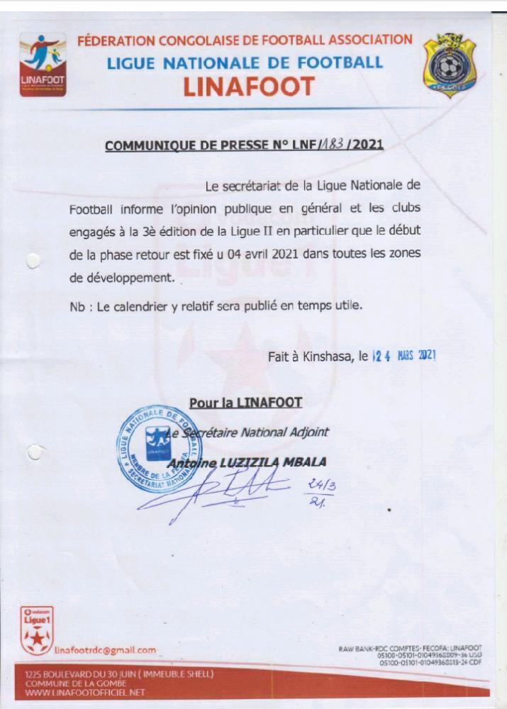 RDC-Football : les clubs engagés en Ligue 2 fixés sur la date du démarrage de la phase retour
