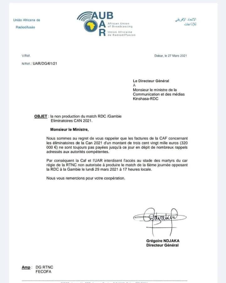 Élim/CAN 2021: la RTNC interdite de diffuser le match RDC vs Gambie
