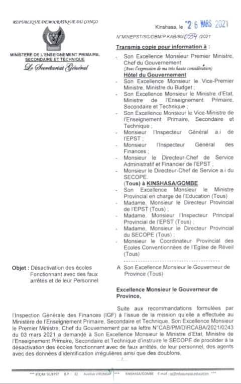 RDC : le ministère de l'ESPT va désactiver toutes les écoles fonctionnant avec des faux arrêtés du fichier de paie des enseignants