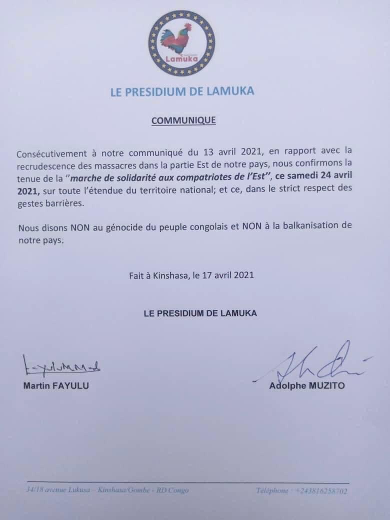 RDC/ Insécurité à l'Est: Lamuka annonce une marche de solidarité ce samedi 24 avril