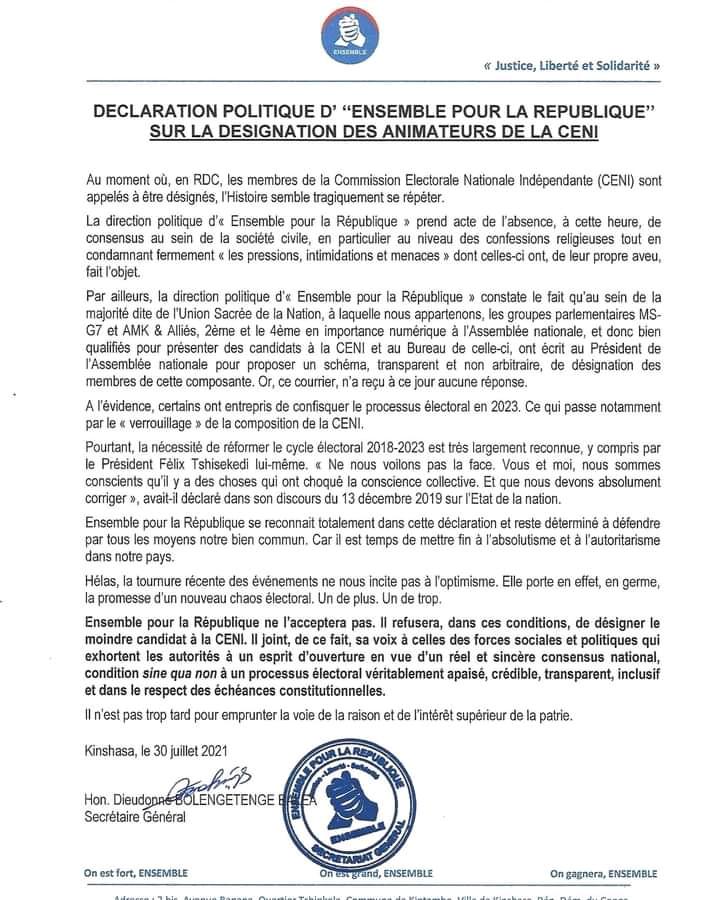 RDC : Ensemble pour la République de Moïse Katumbi refuse d'envoyer ses délégués à la CENI (Communiqué)