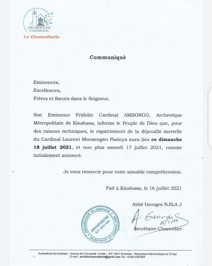 RDC/Église Catholique : La dépouille mortelle du cardinal Monsengwo arrive finalement à Kinshasa ce dimanche 18 juillet