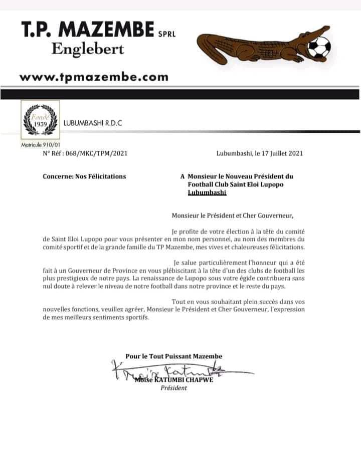 Foot/RDC : élu à la tête du St Éloi Lupopo, Moïse Katumbi felicite chaleureusement Jacques Kyabula et son nouveau comité
