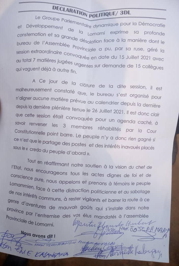 Lomami : le groupe parlementaire 3DL se dit déçu de la gestion de la session extraordinaire par le bureau de l'organe délibérant