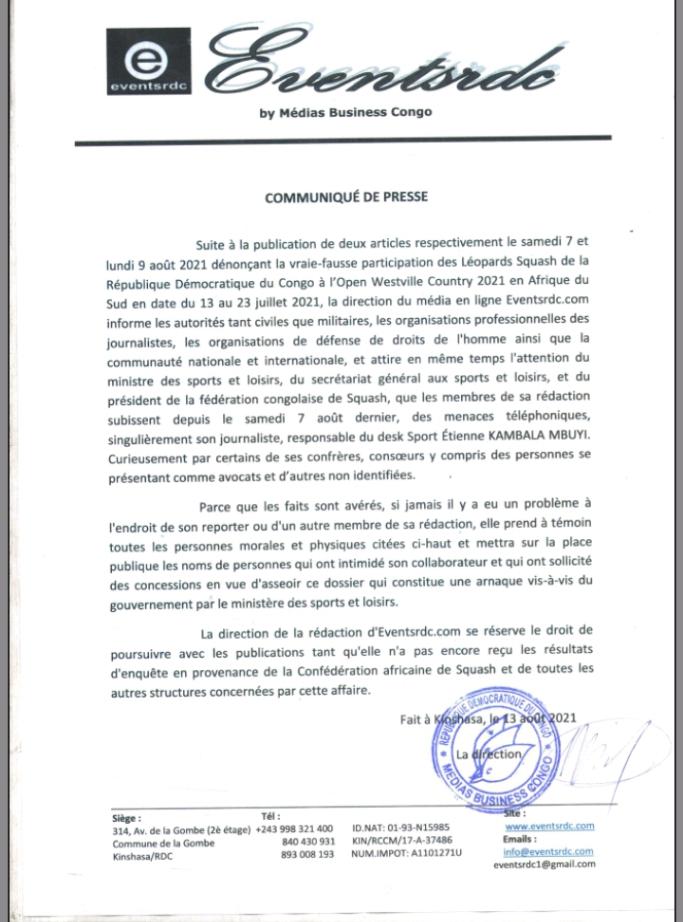 RDC : le média en ligne Éventsrdc alerte sur le danger qui guette un de ses journalistes