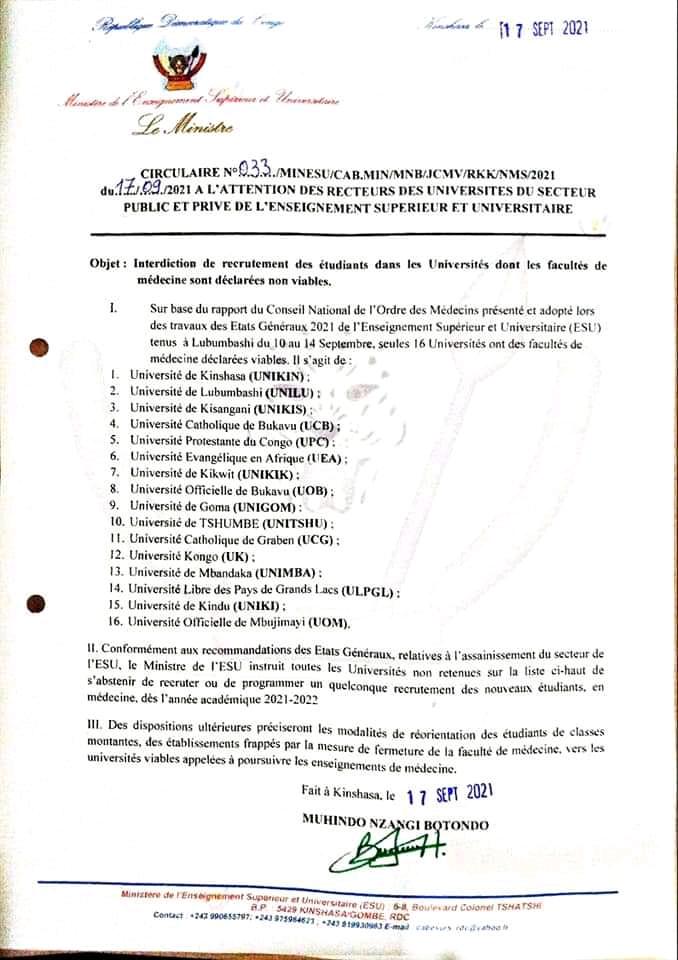 États généraux de l'Esu : Seulement 16 universités en RDC autorisées à recruter des étudiants en médecine dès l'année prochaine