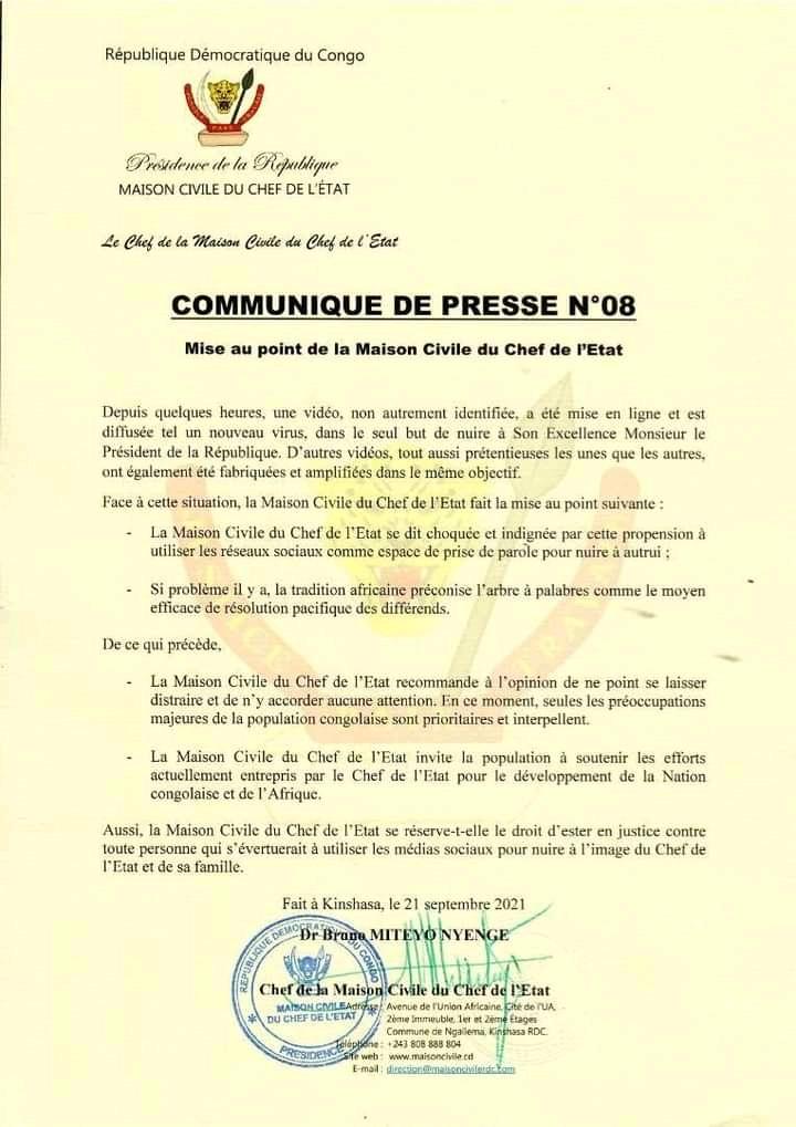 Affaire Gisèle Mpela : Quand la maison civile du chef de l'État tente de calmer les esprits !