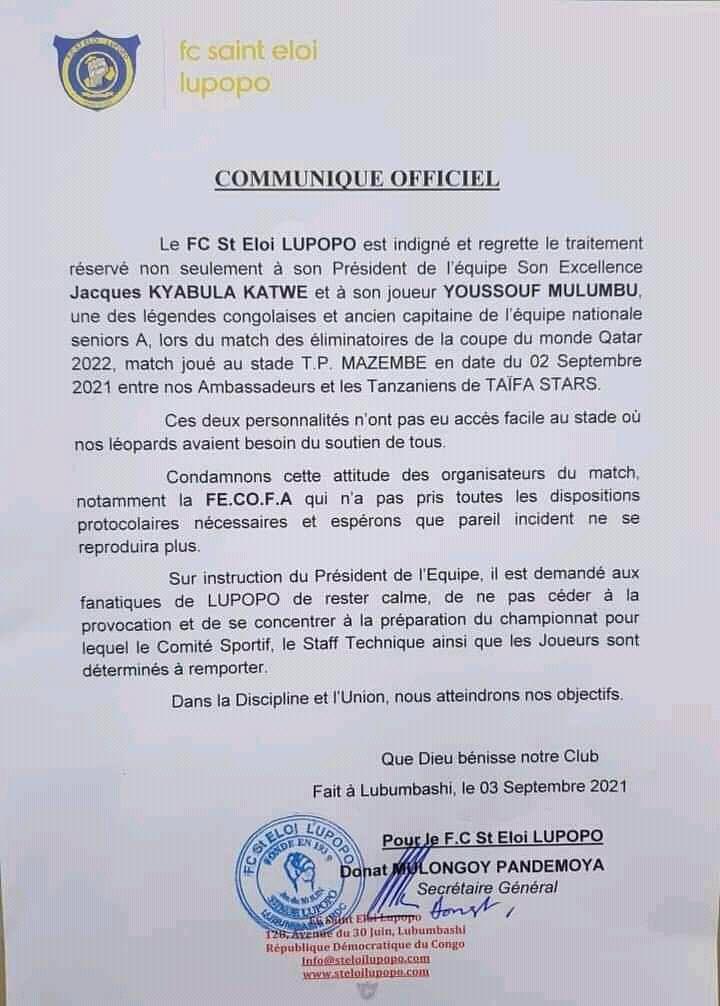 Élim/Mondial Qatar 2022 : le St Éloi Lupopo condamne l'acte posé à l'encontre de Youssouf Mulumbu au stade TP Mazembe
