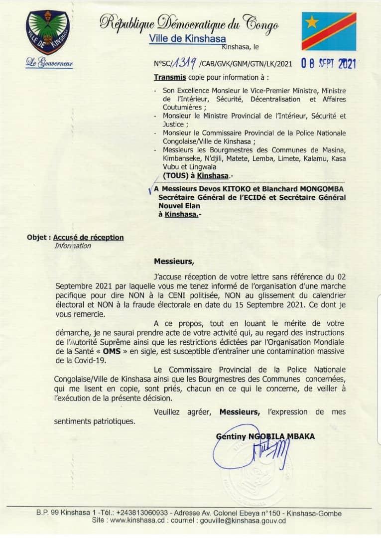 Kinshasa : le « Non » de Gentiny Ngobila à la marche de Lamuka prévu le 15 septembre prochain