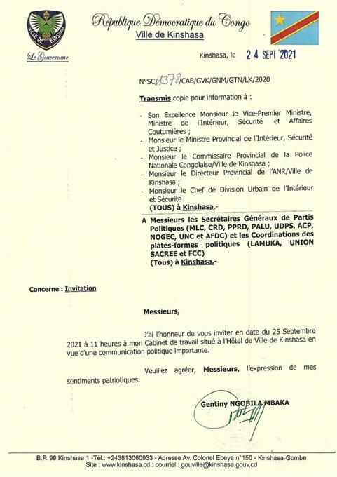 Politique : Les secrétaires généraux des différents partis politiques invités à une réunion ce samedi à l'hôtel de Ville de Kinshasa