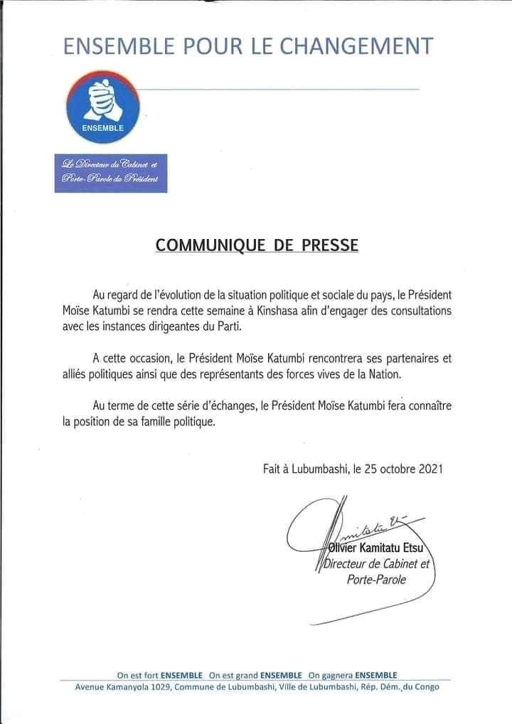 Probable départ du parti Ensemble de l'Union sacrée : Moïse Katumbi en consultations avec ses partis politiques alliés à Kinshasa