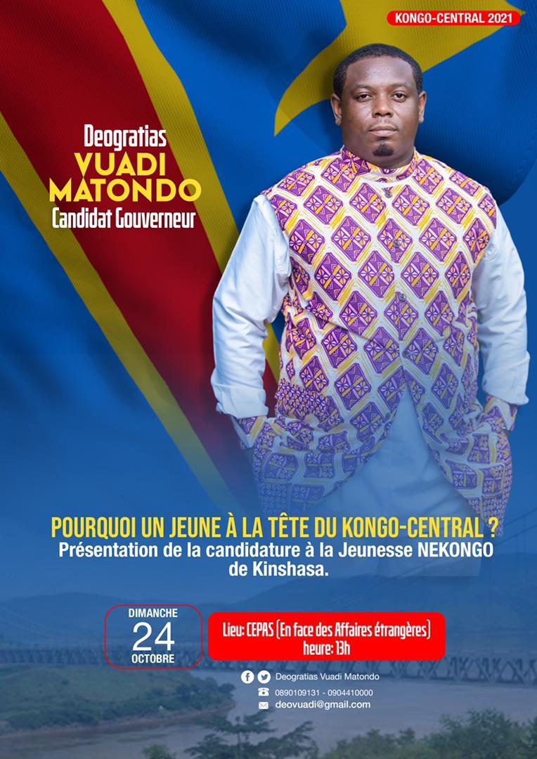 Candidat à l'élection des gouverneurs au Kongo-Central, Déogratias Vuadi présente sa candidature ce dimanche aux Né Kongo de Kinshasa